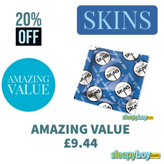 AMAZING VALUE - Skins Natural x50 Condoms (Blue)