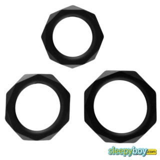 Rock Rings The Cocktagon lll 3 Pack Black Cock Rings
